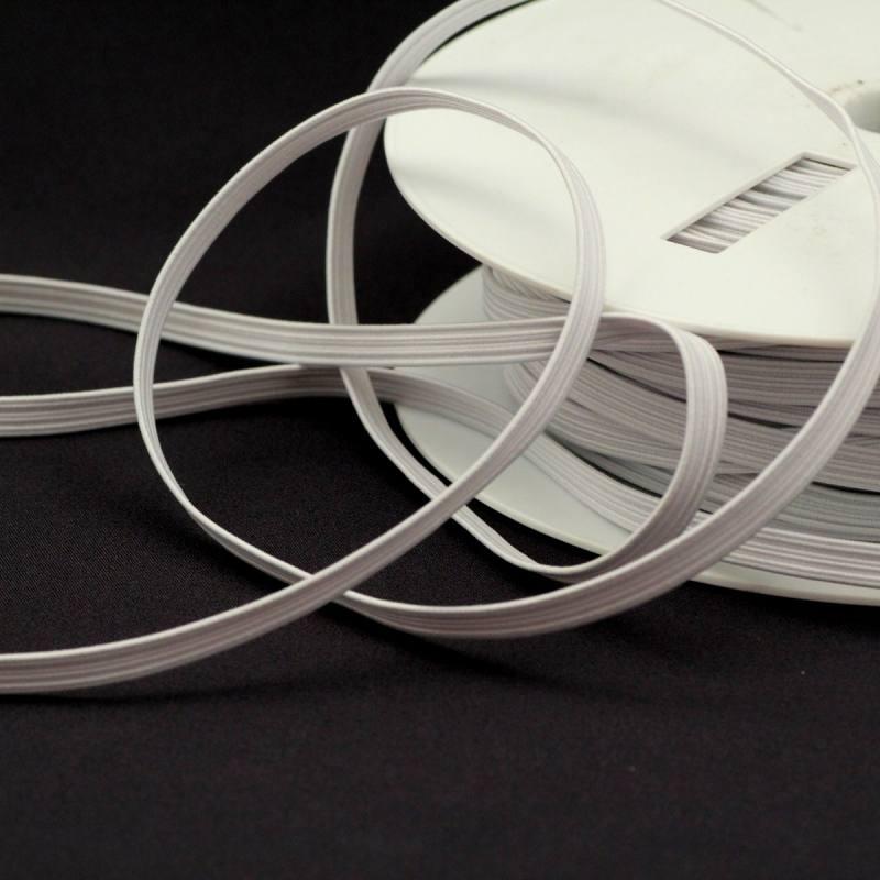 Rouleau 50m d'élastique tresse plate 6mm blanc