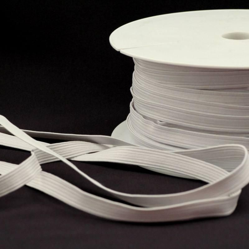 Rouleau 50m d'élastique tresse plate 10mm blanc