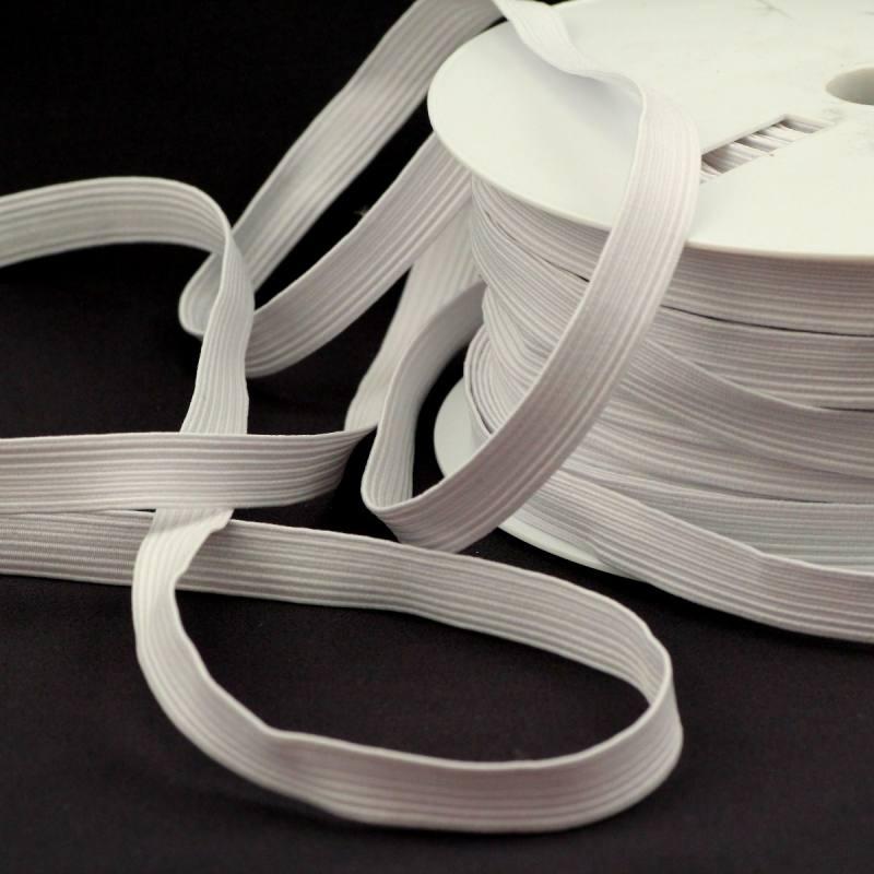 Rouleau 50m d'élastique tresse plate 12mm blanc