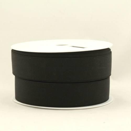 Rouleau 25m d'élastique cotelé noir 35 mm