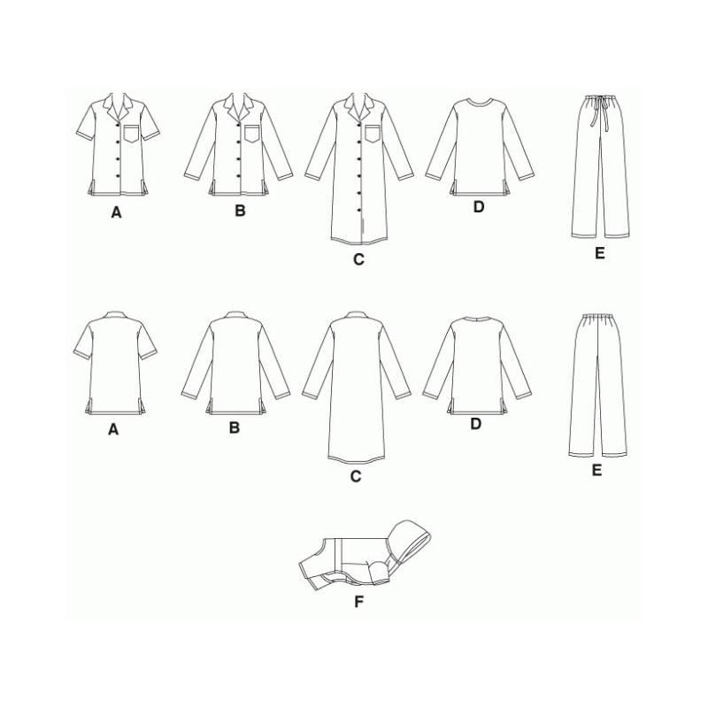 Patrons Mc Calls M5992 : haut, liquette, pantalon Taille : XS à M