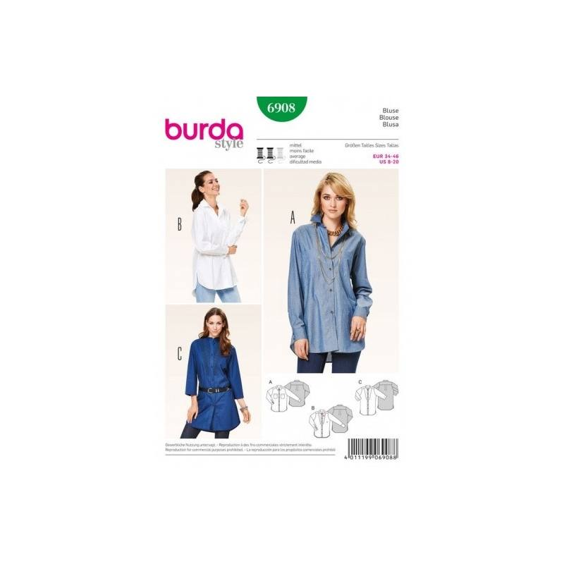 Patron Burda 6908 : Blouse 34-46