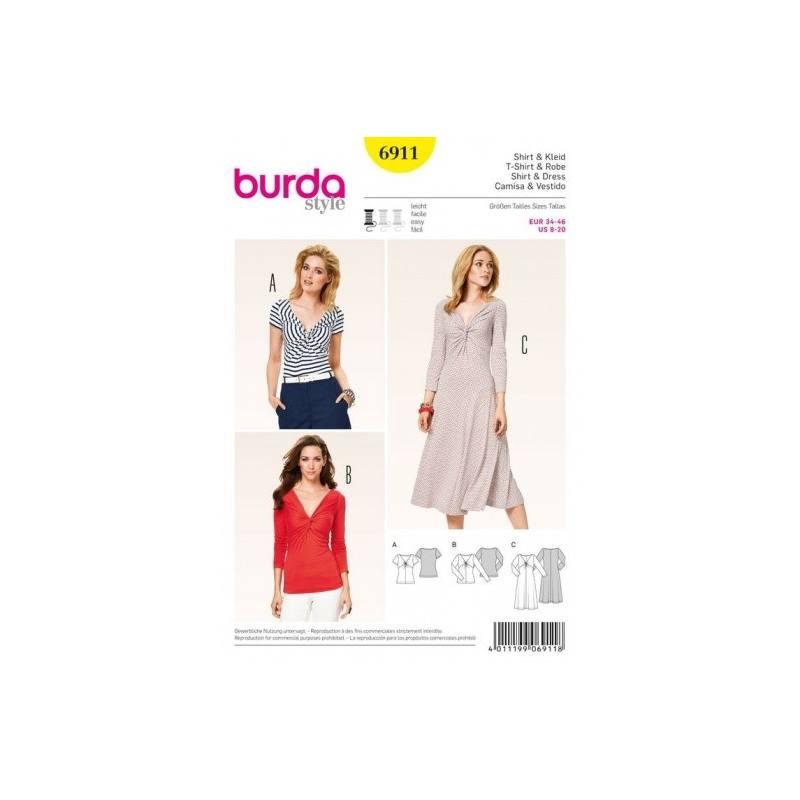 Patron Burda 6911 : T-Shirt et robe 34-46