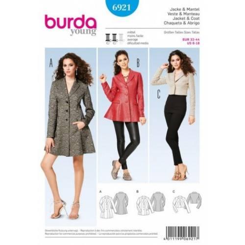 Patron Burda 6921 : Veste et manteau 32-44
