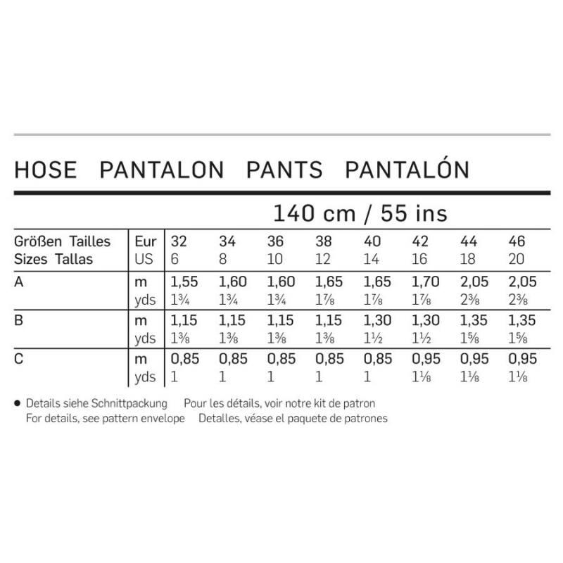 Patron Burda 6938 : Pantalon 32 à 46