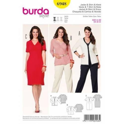 Patron Burda 6948 : Veste, t-shirt et robe 44 à 60