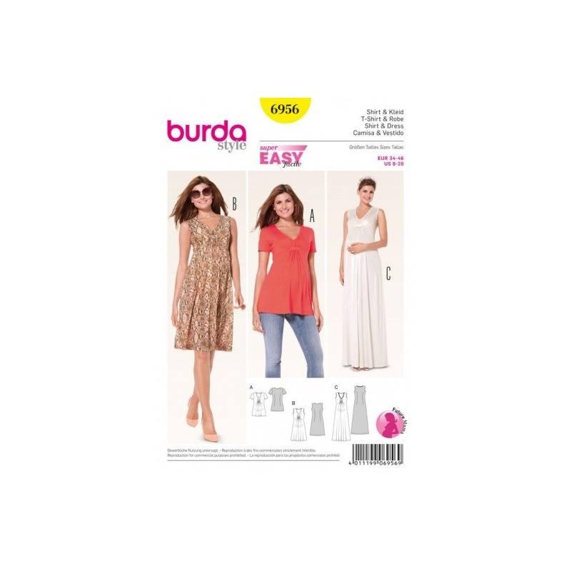 Patron Burda 6956 : T-shirt et robe 34 à 46