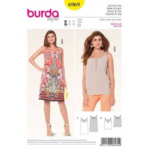Patron Burda 6969 : Robe et haut 34 à 46