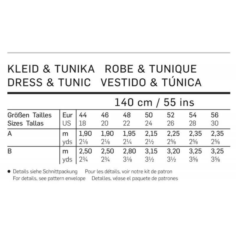 Patron Burda 6972 : Robe et tunique 44 à 56
