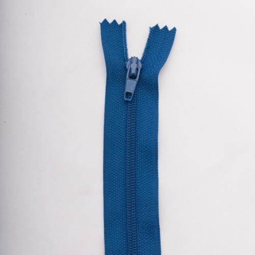 Fermeture 60 cm polyester non séparable bleu col 145