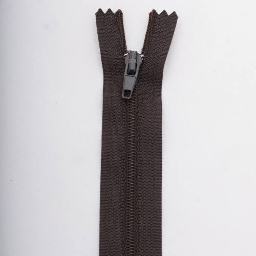 Fermeture 40 cm polyester non séparable marron Col 161