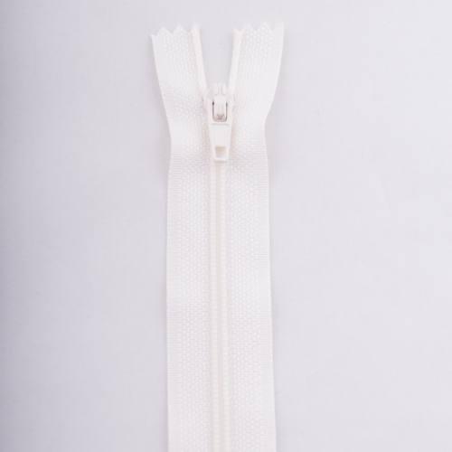 Fermeture 55 cm polyester non séparable écru col 154
