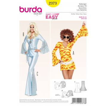Patron Burda 2373 : Robe, tunique, pantalon pattes d'éléphant T34 à 44