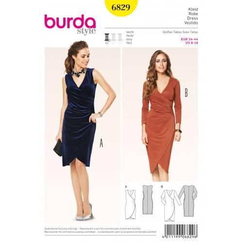 Patron Burda 6829 : Robe T34 à 44