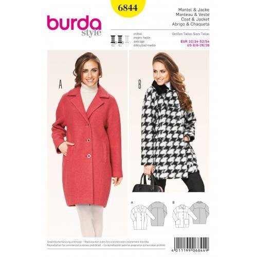 Patron Burda 6844 : Manteau et veste T32 à 54