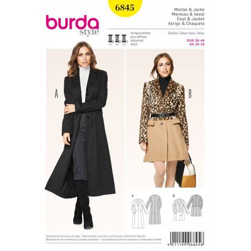 Patron Burda 6845 : Manteau et veste T36 à 46