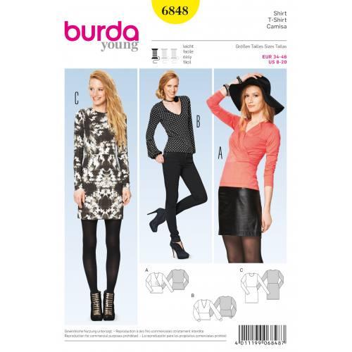 Patron Burda 6848 : T-shirt et robe T34 à 46