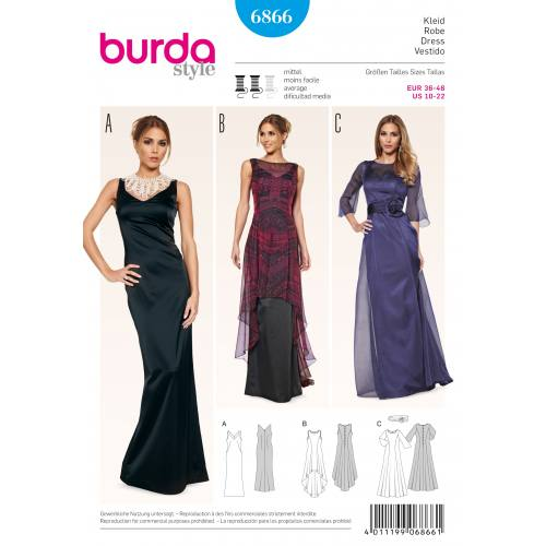 Patron Burda 6866 : Robe T36 à 48