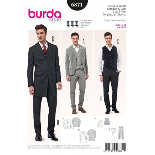 Patron Burda 6871 : Complet et gilet T44 à 60