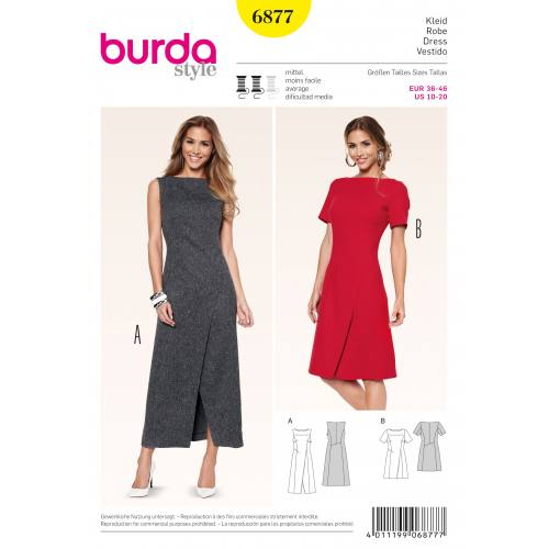 Patron Burda 6877 : Robe T36 à 46