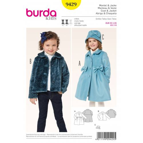 Patron Burda 9429 : Manteau et veste T92 à 128