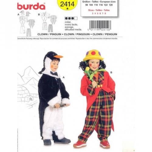 Patron Burda 2414: Carnaval Pingouin, Clown T98cm à 128cm