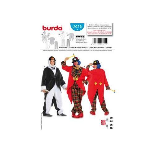 Patron Burda 2415: Carnaval Pingouin, Clown
