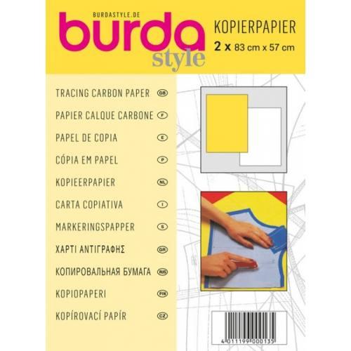 Papier calque carbone Burda - lot de 2 feuilles jaune et blanc