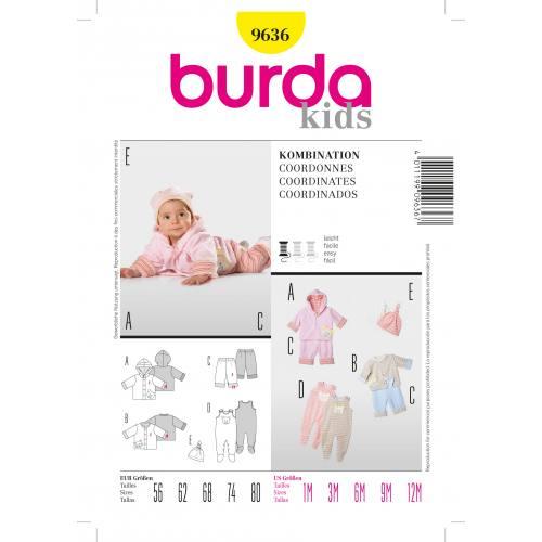 Patron Burda N°9636 kids : Chandail, pantalon, grenouill Taille : 1mois à 12 mois