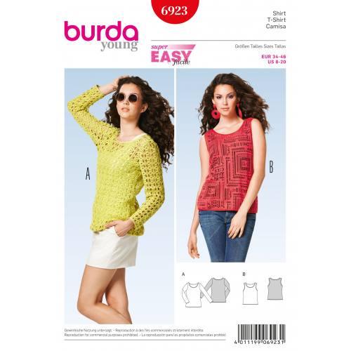 Patron Burda 6923 : T-Shirt/ haut 34-46