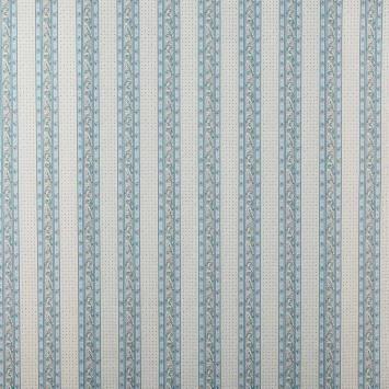 Tissu provençal beige et bleu à rayures motif petit calisson