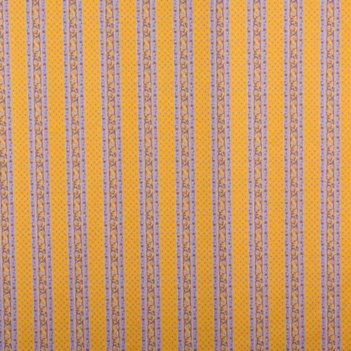 Tissu provençal orange et violet à rayures motif petit calisson
