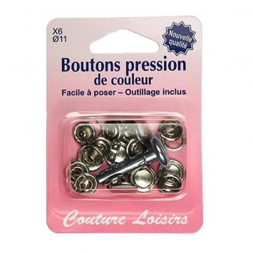 Kit de base boutons pression couleur argent x6