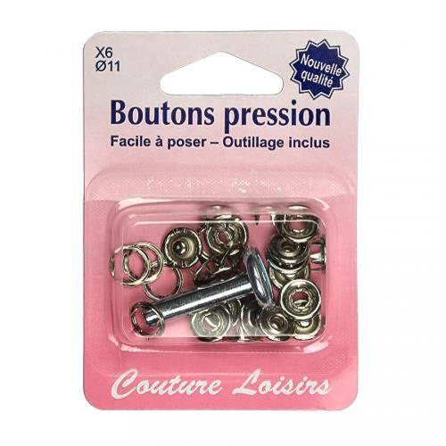 Kit de base boutons pression avec fermeture invisible - argent x6