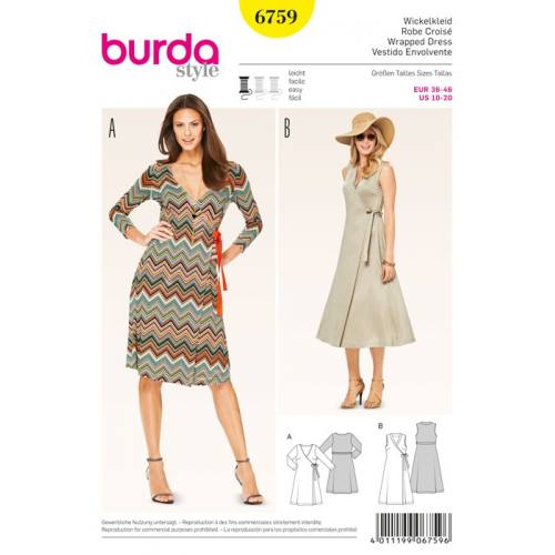 Patron N°6759 Burda style : Robe Taille : 36-46