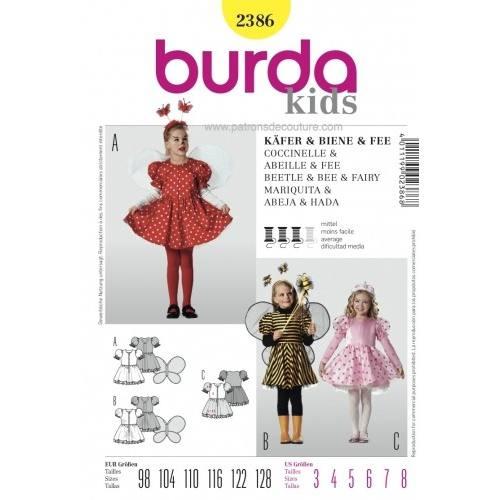 Patron N°2386 Burda Carnaval : Coccinelle, abeille et fée Taille : 98cm - 128cm