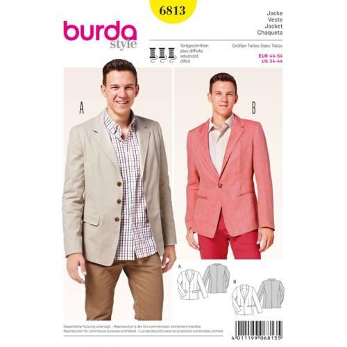 Patron N°6813 Burda Style : Veste homme Taille : 44-54