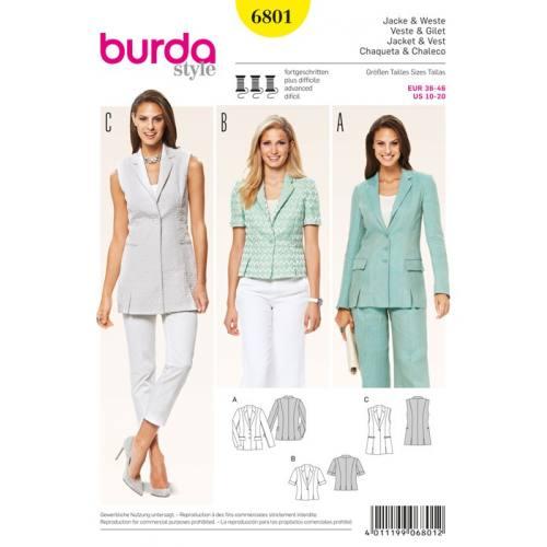 Patron N°6801 Burda Style : Veste et gilet Taille : 36-46