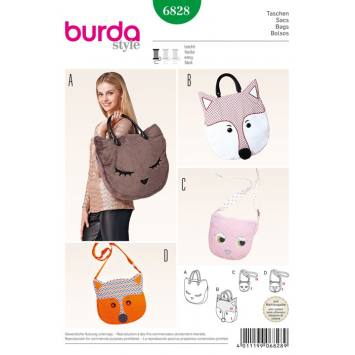 Patron N°6828 Burda Style : sac animal : chat et renard