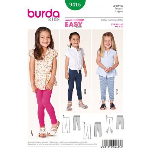 Patron N°9415 Burda Kids : Caleçon Taille: 98cm à 140cm