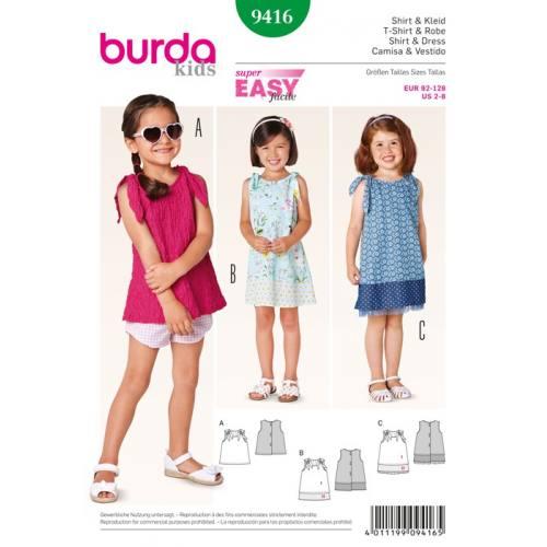 Patron N°9416 Burda Kids : Tee shirt et robe Taille: 92cm à 128cm