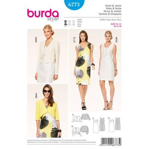 Patron N°6773 Burda Style: Robe et Veste ensemble Taille : 34-44