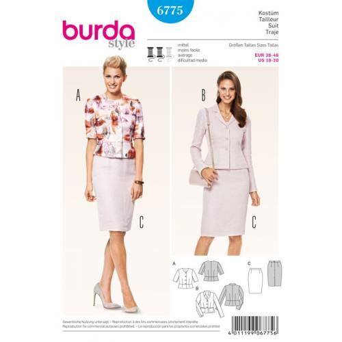 Patron N°6775 Burda Style: Tailleur veste jupe Taille : 36-46