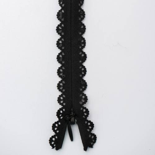 Fermeture dentelle noire 40cm col580