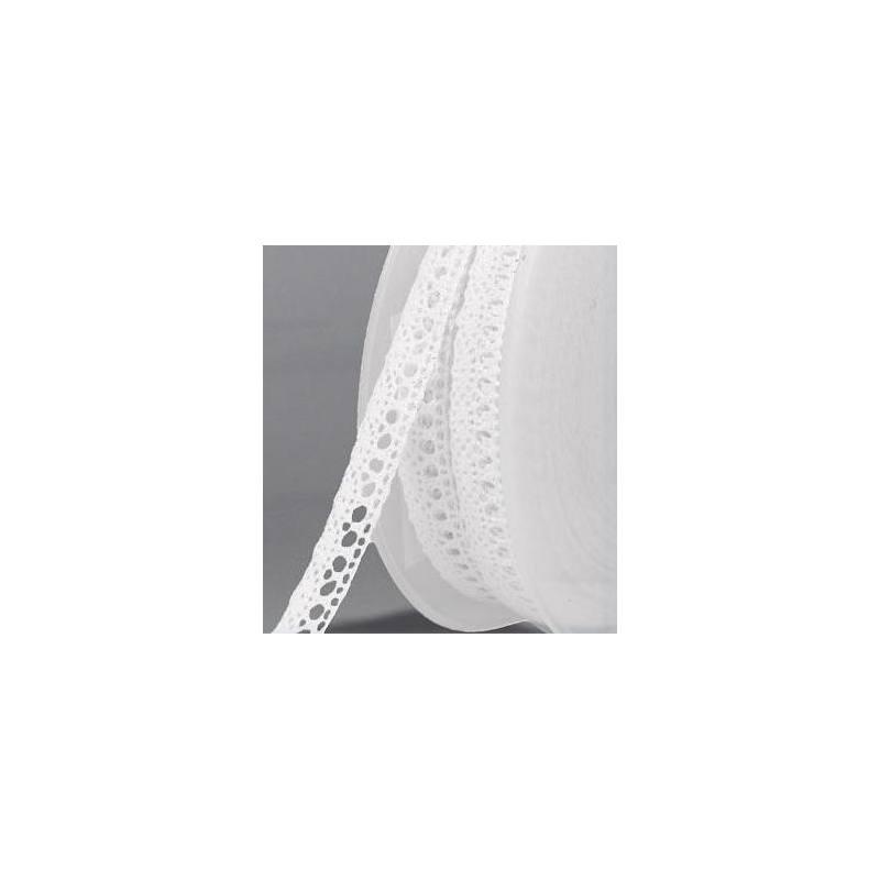 Ruban de dentelle coton blanc 13mm