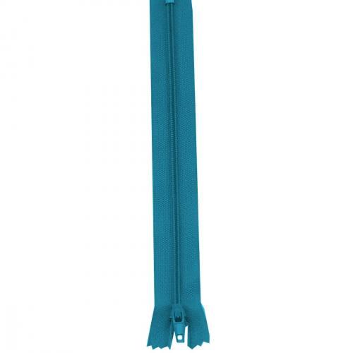 Fermeture 55 cm Polyester non séparable bleu canard col 135