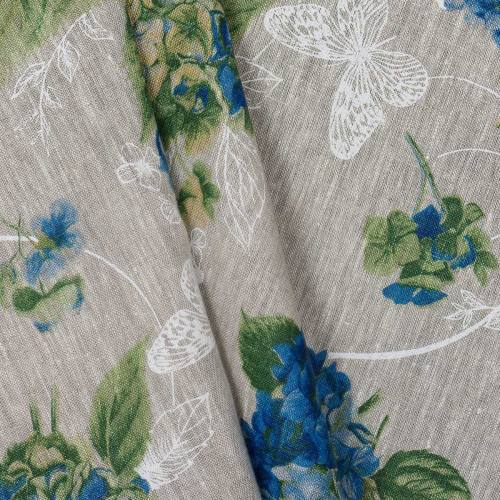 Lin naturel motif hortensia bleu