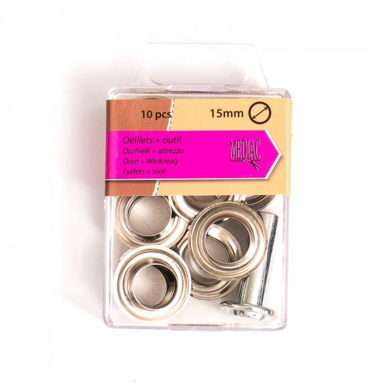 Oeillets 15 mm avec outillage argenté X10