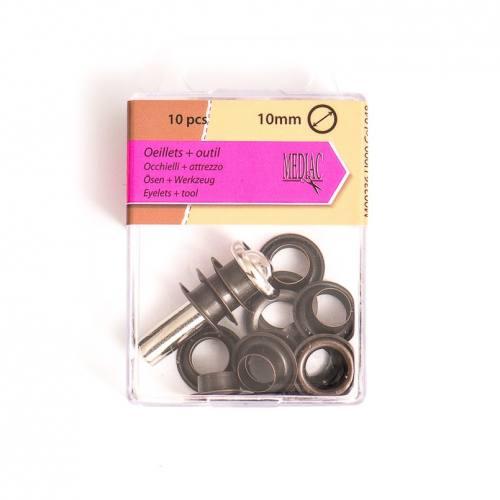 Oeillets 10 mm avec outillage bronze X10