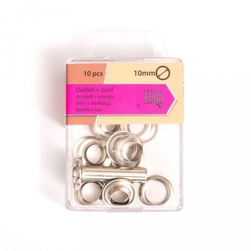 Oeillets 10 mm avec outillage argenté X10